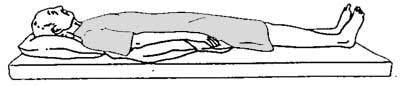 Hasta sırtüstü yere yatırılır - göbek düşmesi masajı