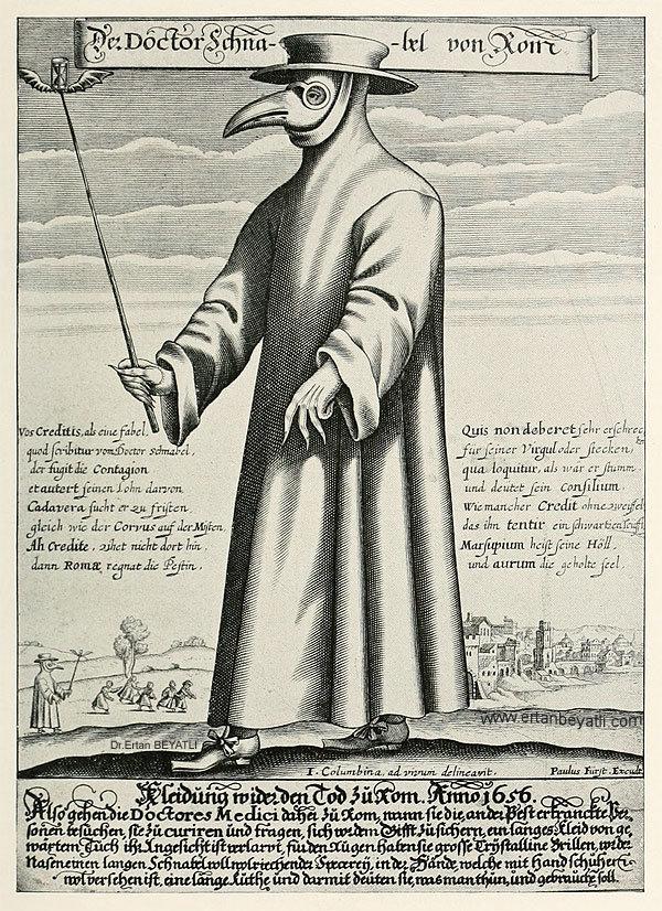 """Veba Doktoru: Doctor Schnabel'ın bakır gravürü [Dr. Beak] (17. yüzyıl Roma'sında veba doktoru) hicivli makakronik şiiri (""""Vos Creditis, als eine Fabel, / quod scribitur vom Doctor Schnabel"""")"""