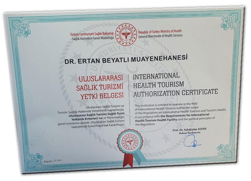 Sağlık Turizmi Yetki Belgesi - Dr. Ertan Beyatlı - Kırklareli
